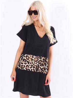 stretchy t-shirt kjole med leopardprint