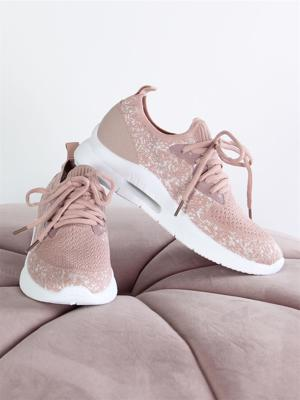 Evelyn - Rosa socksneakers med solid sula