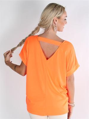 Elodie - Neon orange t-shirt med litet V i ryggen